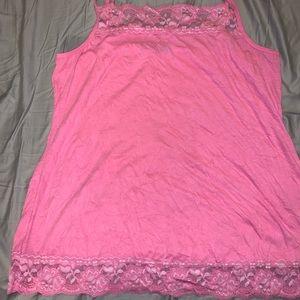 Pink crinkle tank top